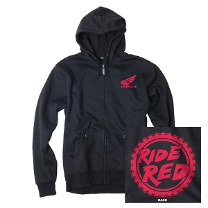 Honda Ride Red Moto Hooded Zip-up Sweatshirt