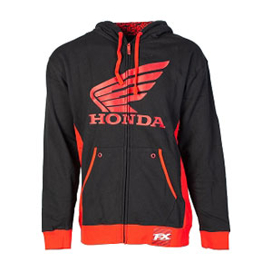 Honda Zip-Up Hoodie Red//Black Hooded Sweater Hooded Sweatshirt FX