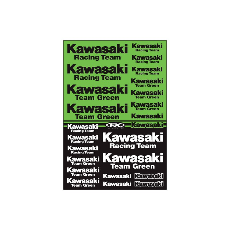 Kawasaki Racing Sticker Sheet