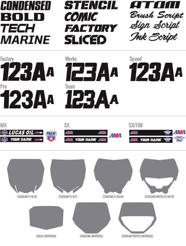 Custom Motocross Number Plate Graphics: Yamaha Apex